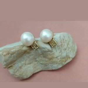 Vintage signed Givenchy faux pearls stud earrings